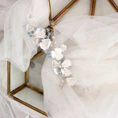 Looking for something blue headpiece with soft small white flower, that will give you feminine, natural, unique and romantic vibe yet modern chic? Small White Flowers, White Wedding Flowers, Flowers In Hair, Flower Hair, Flower Crown, Something Blue Wedding, Flower Headpiece, Wedding Hair Pieces, Bridal Hair Accessories