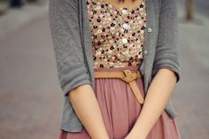 Asparaguy Green Floral Top (White/Pink/Dark Purple) with Puce Pink Pleated Skirt and Grey Cardigan