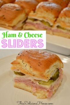 Easy to make recipe for Ham and Cheese Sliders on King's Hawaiian Rolls. Make ahead and bake when ready to serve. Easy and fun slider recipe that you can make ahead and bake before serving. Great party food or quick weeknight dinner recipe. Hawaiian Roll Sandwiches, Hawaiian Roll Sliders, King Hawaiian Rolls, Rolled Sandwiches, Appetizer Sandwiches, Ham Recipes, Brunch Recipes, Cooking Recipes, Brunch Food