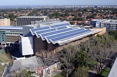 One of the UNSW solar PV systems on the roof of the Tyree Energy Technologies Building at UNSW. This system uses the world-record efficiency multi-modules that were developed in this project.