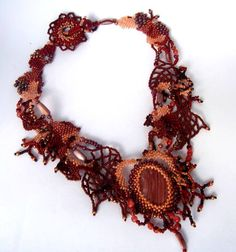 Brown necklace Beadwork necklace Statement jewelry от ibics