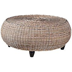 With a subtle driftwood finish and woven rattan construction, this rustic round coffee table is a delightfully natural addition to the living room. Coastal Furniture, Solid Wood Furniture, Accent Furniture, Shabby Chic Furniture, Furniture Deals, Modern Furniture, Driftwood Furniture, Furniture Cleaning, Brown Furniture