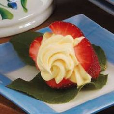 Cream-Filled  Strawberries   Nutritional Analysis:  One filled strawberry equals 36 calories, 1 g fat (1 g saturated fat), 0.55 mg cholesterol, 73 mg sodium, 6 g carbohydrate, 1 g fiber, 1 g protein. Diabetic Exchanges: 1/2 fruit.