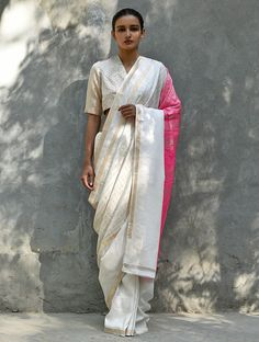 Ivory Pink Handwoven Silk Saree