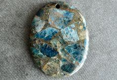 44mm Apatite and Pyrite Stone Pendant, Designer Stone Pendant, 44x34x6mm  Stone, Fancy Stone Pendant Composite Stone, Mosaic by TheBeadBandit on Etsy