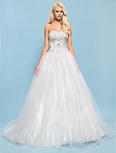 Ball Gown Sweetheart Chapel Train Tulle And Satin Wedding D... – USD $ 182.49