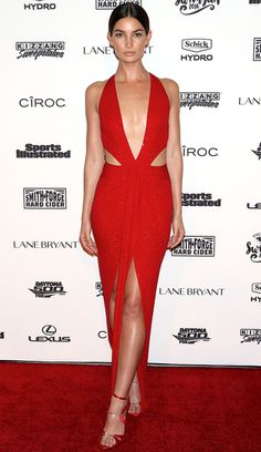 Lily Aldridge in a plunging Alexandre Vauthier Couture red cutout dress