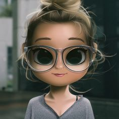 Cartoon, Portrait, Digital Art, Digital Drawing, Digital Painting, Character Design, Drawing, Big Eyes, Cute, Illustration, Art, Girl, Doll, Hair, Glasses, Cardigan