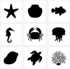 sea stencils   Set of 9 Stencil Cake Decoration Airbrush Tattoos Pattern Sea Animals ...