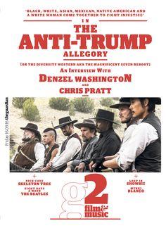 Guardian g2 Film&Music cover: The Anti-Trump Allegory, Magnificent 7, Denzel Washington #editorialdesign #newspaperdesign #graphicdesign #design #theguardian