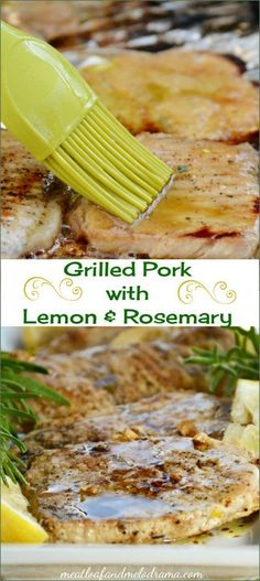 Grilled pork loin chops marinated with lemon, rosemary and garlic and topped with a simple balsamic sauce. A light, healthy summer dinner that is so easy and takes just a few minutes on the grill!