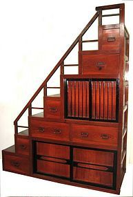 """The Japanese """"kaidan tansu"""" or step chest was and sometimes is used as An actual staircase. Could make an awesome staircase to the loft with a drop down desk or slide out desk top! Japanese Furniture, Asian Furniture, Oriental Furniture, Japanese Interior, Japanese Design, Furniture Design, Japanese Style, Style Asiatique, Loft Stairs"""