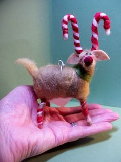 Candycane Reindeer Felted Wool Ornament  by WhimsicalWoolies