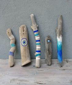 Natural Painted Driftwood Sticks, Evil Eye, Beach Home Decor, Ombre Driftwood Decor, Set of 5...