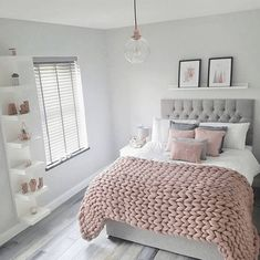 55 pretty pink bedroom ideas for your lovely daughter 11 - Best Warm Home Decor ideas Bedroom Decor For Teen Girls, Cute Bedroom Ideas, Room Ideas Bedroom, Girl Bedroom Designs, Teen Room Decor, Small Room Bedroom, Small Rooms, Bed Room, Bedroom Bed