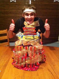 """Ramen Noodle Cake, perfect gift for an 18th birthday or """"going to college"""" gift."""