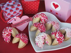 "DIY Valentine fortune cookies  fortune cookies, red and white chocolate and sprinkles galore   dipped the fortune cookies in chocolate, sprinkled them with candies and non-pareils and packaged them in mini Chinese take-out boxes with a note reading ""I am fortunate to have a friend like you!"""