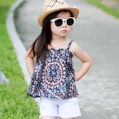 >> Click to Buy << 2 Pcs/Lot BP Style Summer Baby Girls Slip Blouse Sleeveless Tops+Cotton Denim Shorts White Jeans Pants Cherry Brands Trousers #Affiliate