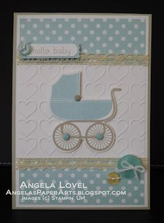 Boy Hello Baby card features the Stampin' Up! Something for Baby stamp set and co-ordinating Baby's First framelits.  Available from my online store http://www3.stampinup.com/ECWeb/ProductDetails.aspx?productID=136791&dbwsdemoid=4011749  #angelaspaperarts