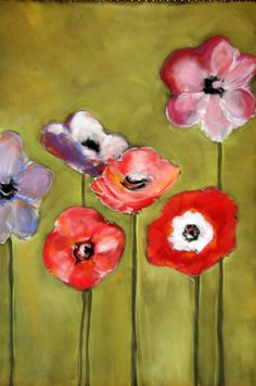 PanPastel poppies by Donna Downey. I really have to get out those PanPastels and start using them!!