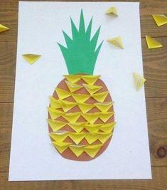 Bastel Idee für jüngere Kinder: Ananas Kollage aus Papier