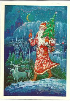 Vintage Russian Postcard - Happy New Year - Congratulation  Santa Claus walks on the country