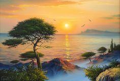 "Photo from album ""Морской пейзаж"" on Yandex. Easy Landscape Paintings, Seascape Paintings, Nature Paintings, Watercolor Landscape, Beautiful Paintings, Landscape Art, Beautiful Landscapes, Watercolor Paintings, Sea Art"