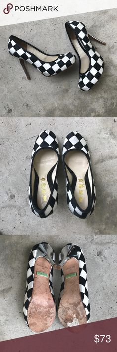 "L.A.M.B. Checkerboard Satin Heels, EUC Super fun stiletto heels with black and white satin checkerboard body with rounded toe, with chromed stiletto heels. Worn a handful of times - excellent used condition. Heel height 4"". L.A.M.B. Shoes Heels"