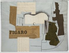 picasso/Bottle of Vieux Marc, Glass, Guitar and Newspaper Collage 1913 (http://cubismsite.com/picasso-collage/)