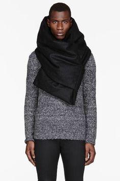 JULIUS Black Wool-Mohair Plush Melton Scarf