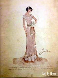 The Great Gatsby (2013) | Designer Catherine Martin's sketch of Elizabeth Debicki's 'Jordan Baker' in a bridesmaid dress.