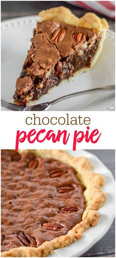 This decadent chocolate Pecan pie is made with a homemade pie crust and is filled with chocolate-y goodness and crunchy pecans (and is even better with ice cream on top). It's perfect for holidays or any get together. No Bake Desserts, Easy Desserts, Delicious Desserts, Dessert Recipes, Baking Desserts, Chocolate Pies, Decadent Chocolate, Chocolate Pie Recipes, Chocolate Chip Pecan Pie