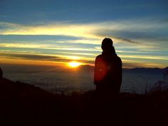 View of Sunrise on the top of Buthak Mountain, Blitar, Eas Java-Indonesia