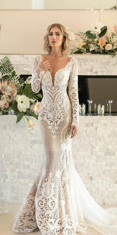 36 Lace Wedding Dresses That You Will Absolutely Love ❤ lace wedding dresses m. - 36 Lace Wedding Dresses That You Will Absolutely Love ❤ lace wedding dresses mermaid with long sleeves plunging neckline naamanatbridal Source by - Backless Mermaid Wedding Dresses, Lace Wedding Dress With Sleeves, Long Sleeve Wedding, Mermaid Dresses, Dream Wedding Dresses, Bridal Dresses, Dresses With Sleeves, Maxi Dresses, Dress Lace