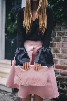 Gal Meets Glam Pink and Black -ASOS top, skirt & clutch