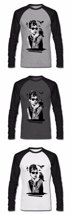 HOT Sell Audrey Hepburn Men's Long Sleeve T Shirt High Quality Male Spring Tops Custom Mens T Shirts