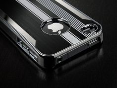 Pandamimi Black Luxury Steel Aluminum Chrome Hard Back Case Cover for Apple AT Sprint Verizon iPhone 4S 4 4G NEWEST With Front and Back Screen Protective Film