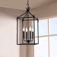Black Iron 4 Light Hanging Lantern Chandelier Pendant Lamp Home Ceiling Lighting
