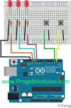 74. Arduino scelta accensione led con 2 pulsanti - PROGETTI ARDUINO