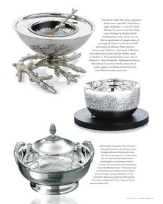 Caviar Affair magazine features two caviar sets available at Michael C. Fina.  (Puiforcat and Christofle)