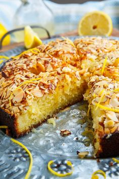 Lemon Almond Cake Recipe : A light, moist and tender lemon almond cake! Lemon Desserts, Delicious Desserts, Yummy Food, Meyer Lemon Recipes, Delicious Dishes, Baking Recipes, Cake Recipes, Dessert Recipes, Dessert Blog