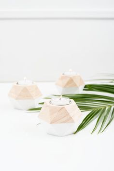 Decorate your table tops with these cool geo shaped wooden tea light holders. Featuring a chic combination of natural wood with a white dipped detail,. Wedding Welcome Table, Wedding Favor Table, Wedding Table Decorations, Wooden Tea Light Holder, Wooden Candle Holders, Modern Candles, Small Candles, Candle Centerpieces, Wedding Centerpieces
