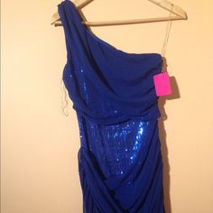 One shoulder sequence dress New with tag just seating in my closet. Mini dress tight to the body Esley Dresses Mini