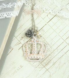 Hey, I found this really awesome Etsy listing at https://www.etsy.com/listing/185151187/pink-crown-necklace-french-jewelry-crown