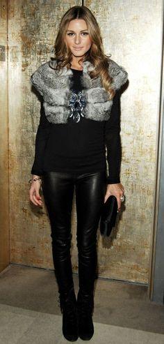 black look - leather pant - faux fur