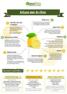 Citron : astuces et recettes simples et économiques - Diy Cleaning Products, Cleaning Hacks, Diy Organisation, Green Life, Natural Cosmetics, Diy For Teens, Organizer, Clean House, Good To Know
