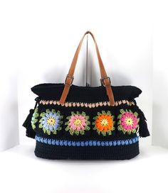 Crochet Floral Granny Squares Tote Bag with Adjustable Genuine Leather Strap Handles /BLACK/, Crochet Bag, Beach Bag, Shopper, Gift Idea by MyNicePurses on Etsy