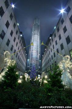 New York City Christmas at night