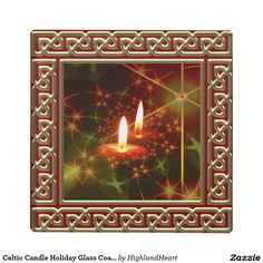 Celtic Candle Holiday Glass Coaster