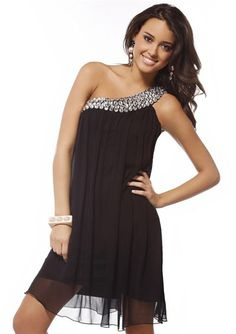 Glamorous Sheath One-Shoulder Short/Mini Chiffon Charmeuse Short Evening Dresses